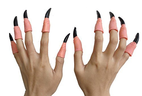 Lanue 10pcs Zombie Witch Gloves False Nail Fake Finger Claws for Halloween Costume