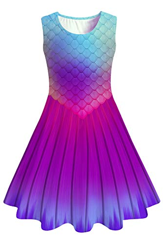 (Girls Sleeveless Dress 3D Print Fish Scale Blue Purple Red Gradient Cute Mermaid Pattern Summer Dress Casual Swing Theme Birthday Party Sundress Toddler Kids Twirly Skirt)