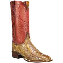 Lucchese Men's Handmade Troy Cognac Giant Gator Western Boots - Square Toe (CL1043.W8) - 11/D