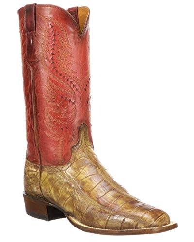 Lucchese Men's Handmade Troy Cognac Giant Gator Western Boots - Square Toe (CL1043.W8) - 10/D