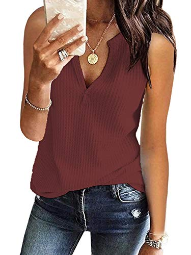 Famulily Womens Sleeveless Waffle Thermal V Neck Shirt for sale  Delivered anywhere in USA