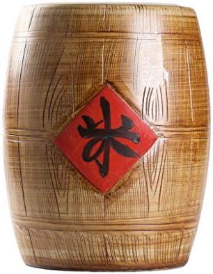 中国製セラミック米貯蔵タンク 大容量米貯蔵バケット 容量:10kg、15kg、25kg 各種穀類の貯蔵に最適 (Color : Brown, Size : 28*36cm)