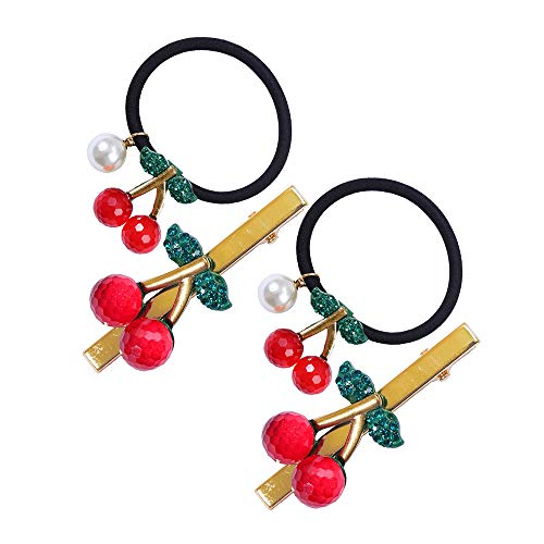 4 Pcs Rhinestone Hair Ties Lovely Cherry Alligator Hair Clips Ponytail Holder with Faux White Pearls Elastic Rubber Band Hair Clip Hair Accessories for Women Girls Kids Hair ()