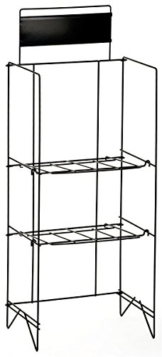 Displays2go 46-Inch Wire Newspaper Stand with 2 Height-Adjustable Shelves, Free-Standing with 14 x 4 Inches Nameplate, Black (NRWREGTWO) by Displays2go