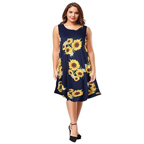 AMZ PLUS Womens Plus Size Casual Boho Sundress Summer Sleeveless Dresses Sunflower 2XL
