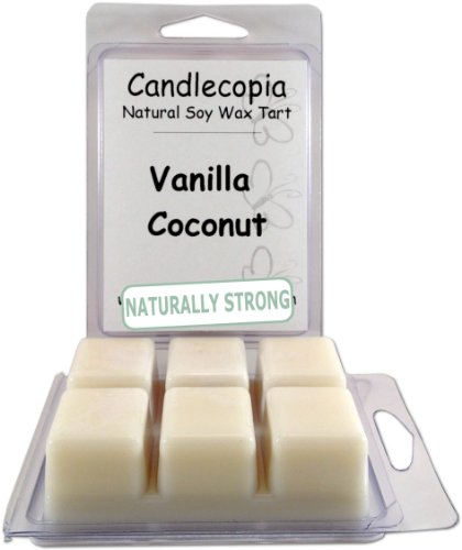 Candlecopia Vanilla Coconut Strongly Scented Hand Poured Vegan Wax Melts, 12 Scented Wax Cubes, 6.4 Ounces in 2 x 6-Packs