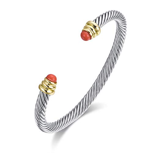 Ofashion Twisted Cable Bracelet with Rubies, Brass Alloy, 5mm