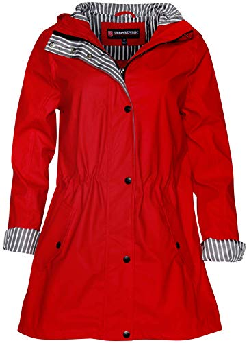 (Urban Republic Women's Vinyl Anorak Style Rain Jacket with Hood and Cinched Waist, Red, Size)