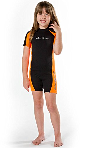 NeoSport Wetsuits Children's Premium Neoprene 2mm Shorty Wetsuit, Black/Orange, Size Six