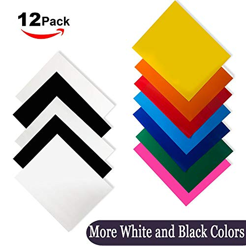 Heat Transfer Vinyl for T-Shirts 12x10'' 12 Sheets-Iron On Vinyl HTV Bundle for Silhouette Cameo, Cricut or Heat Press by unuaST