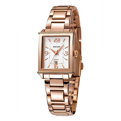Tayhot Womens Rectangle Rose Gold Watch,Lady Stainless Steel Watch,Women Date Quartz Watch,Luxury Analog Watch for Women,Lady Women Girls Bracelet Dress Watch,Square Lady Wrist Watch,Rose Gold-Toned