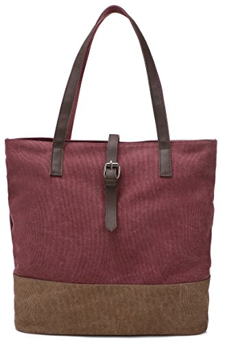 - ArcEnCiel Women's Canvas Shoulder Hand Bag Tote Bag (Maroon)