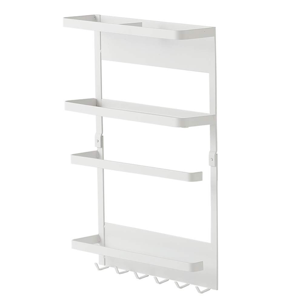 LOCGFF Wall Mounted Storage Rack Organizer, with 4-Shelf Shelving Storage Unit and 6 Hook up, for Bathroom, Kitchen, and Bedroom, White by LOCGFF