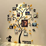 Unitendo 3D Acrylic Wall Stickers Photo Frames FamilyTree Wall Decal Easy to Install &Apply DIY Photo Gallery Frame…