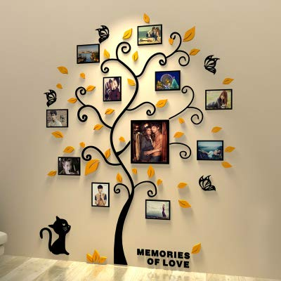 (Unitendo 3D Acrylic Wall Stickers Photo Frames FamilyTree Wall Decal Easy to Install &Apply DIY Photo Gallery Frame Decor Sticker Home Art Decor (Yellow Leaves Tree with cat, L))