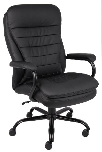 (Boss Office Products B991-CP Heavy Duty Double Plush LeatherPlus Chair with 350lbs Weight Capacity in Black)