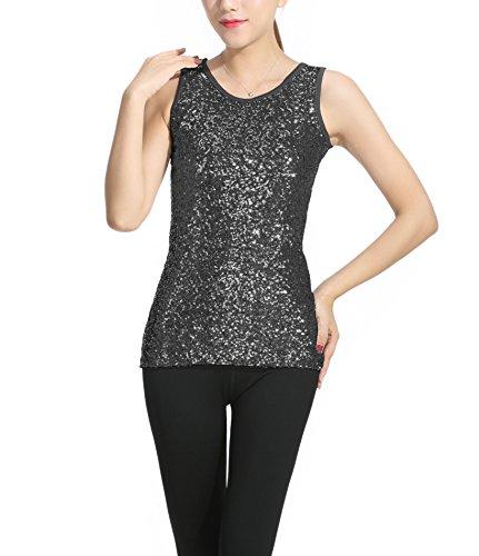 SOSITE Women's Sparkly Sequin Front Tank Top Round Neck Vest Sleeveless Base Shirt Black-XL Round Neck Vest