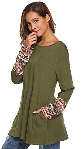 Women's Long Sleeve Knitted Cotton Patchwork Lightweight Sweatshirt Tunic Tops (XXL, 2 Army Green)