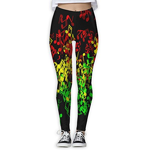 Rasta Reggae Music ELements Women's Tummy Control Sports Running Yoga Workout Leggings Pants S by Reflex