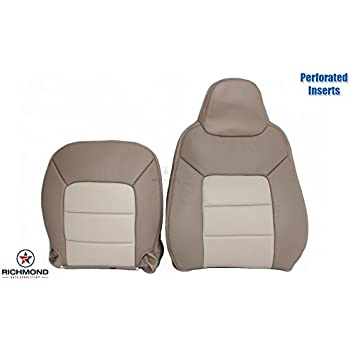 2003 2006 Ford Expedition Eddie Bauer Driver Side Complete Lean Back Bottom Perforated Replacement Leather Seat Cover 2 Tone Tan
