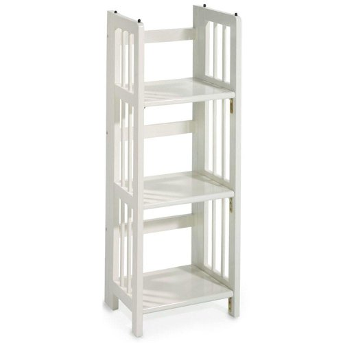 Amazon Com Mission Style 38 X 14 Inch White Folding Stacking Bookcase 14 Quot W White Kitchen