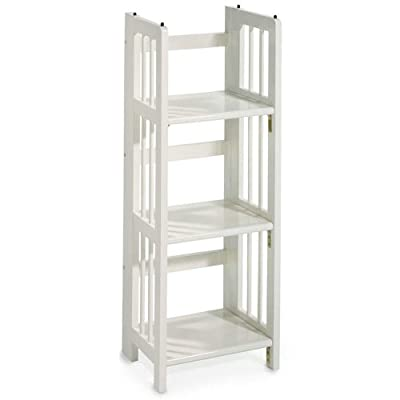"Home Decorators Collection Mission Style 38 x 14 Inch White Folding/Stacking Bookcase, 14"" W, White - 38""H x 11.5""D. Choose 14""W, 27.5""W or 35""W. No assembly required. - living-room-furniture, living-room, bookcases-bookshelves - 41ZVry57LQL. SS400  -"