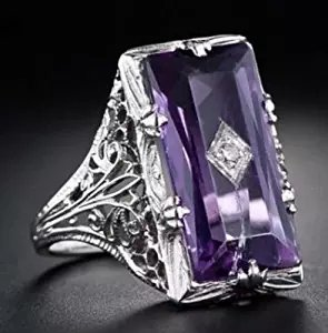 (Nongkhai shop 925 Silver Large Amethyst Gem Band Ring Wedding Proposed Women Jewelry Size 6-10 (8))