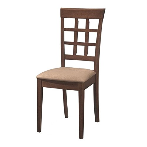 Bowery Hill Wheat Back Dining Chair with Fabric Seat in Walnut