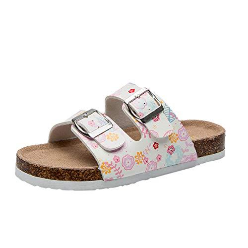(Respctful✿Women Comfort Slip On Sandals Casual Buckled Boho Floaral Flat Open Toe Slide Shoe Comfort Slip On Slides Pink)