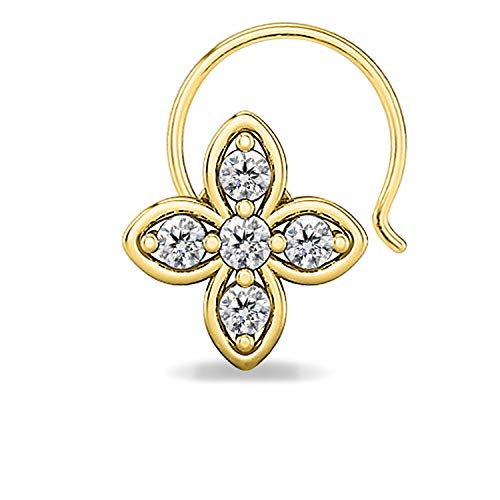 (DiscountHouse4you 14k Yellow Gold Plated Round Cubic Zirconia Clover Flower Nose pin Nose Stud Piercing Body Jewelry for)