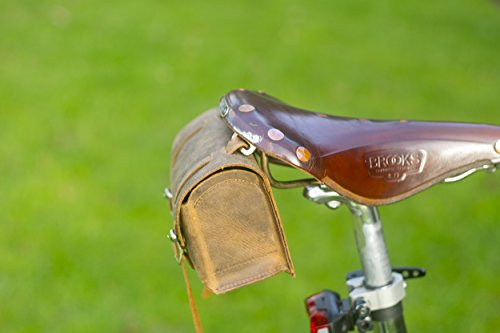 Quadratisch Sattel/Lenker Fahrrad Tasche echt Leder Vintage Braun für Bike Werkzeuge