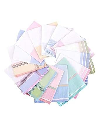 La closure Women Woven Stripe Handkerchiefs Wedding Party Cotton Hankies, Pack of 3