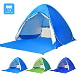 Victostar Pop up Beach Tent, Outdoor Automatic Portable Cabana 2-3 Person Fishing UV Protection Beach Umbrella Beach Shelter,Sets up in Seconds (Light Blue)