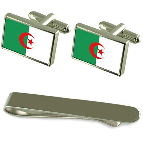 Drapeau de l'Algérie de manchette en argent gravé Cravate Cadeau