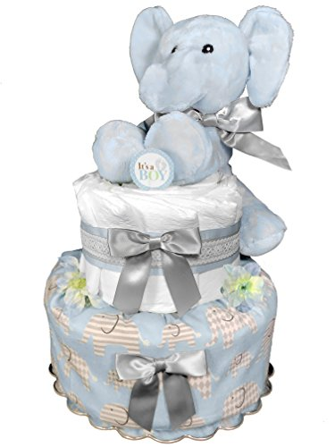 Elephant Diaper Cake for a Boy - Baby Shower Gift - 2-Tier Centerpiece Blue and Gray