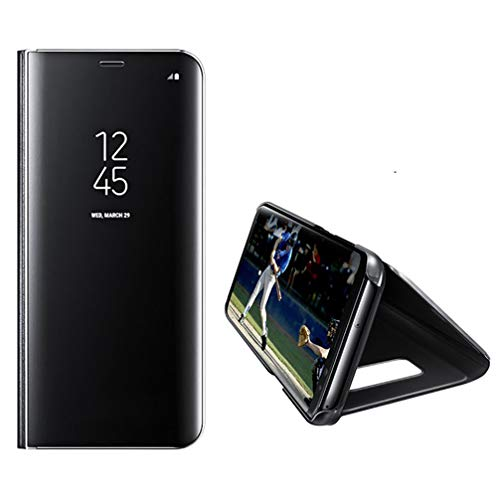 Anyos Galaxy S10 Lite Mirror case, Translucent Clear View Electroplate Flip Stand Luxury Case Cover for Samsung Galaxy S10E (Black) ()