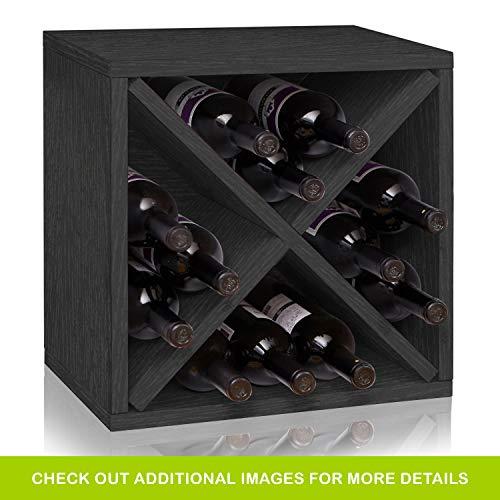 Way Basics Stackable 12-Bottle Tabletop Wine Rack Cube Storage, Black