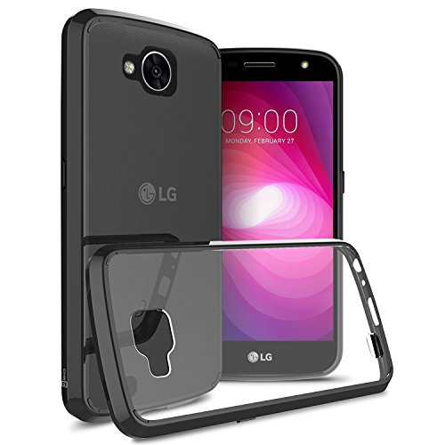 LG X Venture Case, LG X Calibur Case, CoverON [ClearGuard Series] Hard Clear Back Cover with Flexible TPU Bumpers Slim Fit Phone Cover Case for LG X Venture / X Calibur - Black / Clear (Venture Mobile)