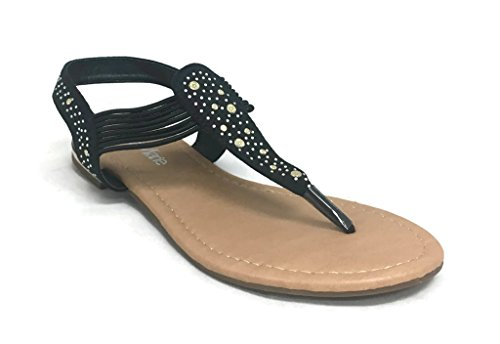 Anna Femmes Slip-on Plage Strass Sandales Gladiateur Mode Casual Sandales Habillées Noir