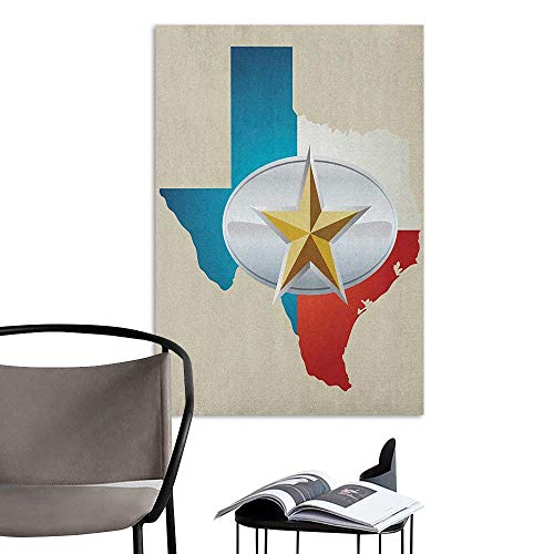 Jaydevn Stickers Wall Murals Decals Removable Texas Star Cowboy Belt Buckle Star Design with Texas Map Southwestern Parts of America Multicolor Sofa Background Wall W16 x H20