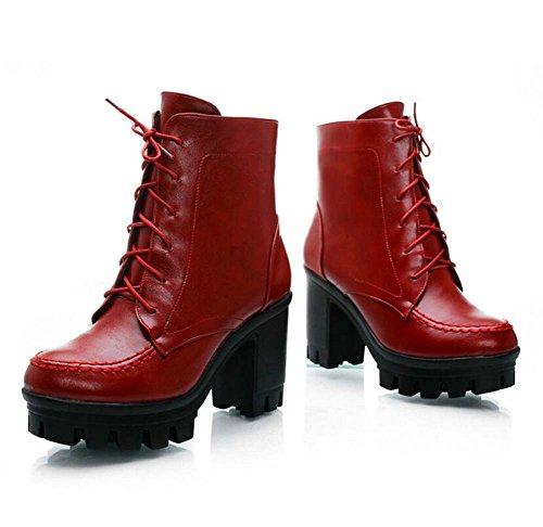 9cm Chunkly Heel Martin Botas Ankel Boots Botas de Vestir Mujeres Moda Redonda Toe Cordón 3cm Thick Plataforma Knight Boots Botas de boda Eu Tamaño 32-43 Red