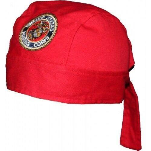 USMC Marines Seal Crest Red Do Rag Doo Rag Skull Cap Head Wrap ()