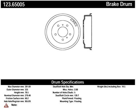 Centric Parts 123.65005 Brake Drum