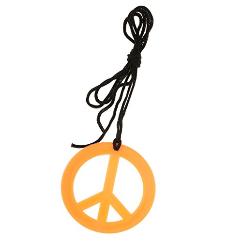 60s Mens Fancy Dress (Dovewill Novelty Peace Sign Pendent Necklace Boho Hippie 60s 70s Costume Unisex Fancy Dress - Orange)