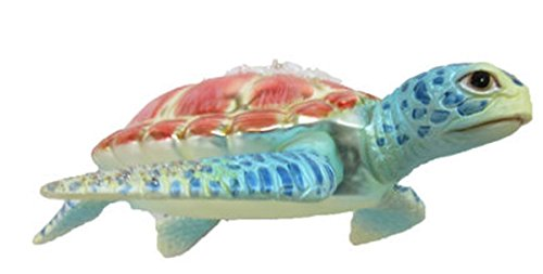 December Diamonds Blown Glass Embellished Sea Turtle Ornament 79-80926 5 Inches x 4.5 Inches Aqua Flippers