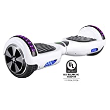 Gyrocopters Pro 2.0 - Hoverboard UL2272 White certified With GPS, APP, Bluetooth, Speakers and LED Lights. 2018 model and best self balance software. Front and Top LED light for safety