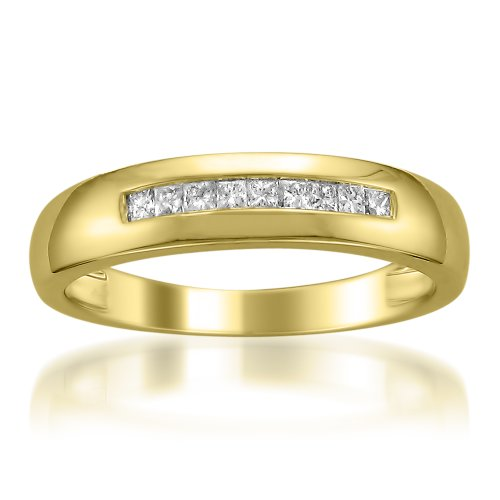 14k Yellow Gold Princess-cut Diamond Men's Wedding Band Ring (1/4 cttw, I-J, I1-I2), Size (14k Yellow Gold Wedding Ring)