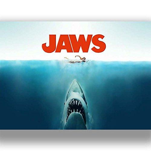 All Sizes Jaws Shark Vintage Movie Large BOX CANVAS Art Print Black /& White