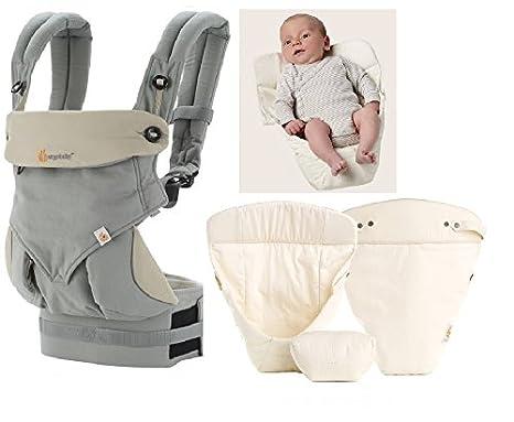 ERGObaby 360 Pack evolutivo Porta bebé Grey + cojín bebé Natural