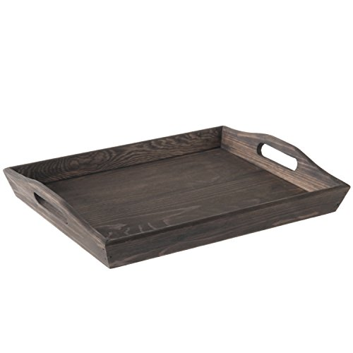 (MyGift Rustic Coffee Brown 16-inch Wooden Breakfast Serving Tray with Oval Cutout Handles)
